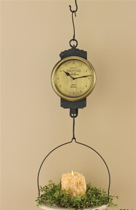 #21-031 Farmhouse Cottage Style Vintage Inspired Hanging Milk Scale Clock Candle Holder