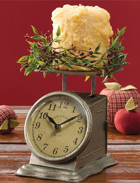 Country Farmhouse Vintage Inspired Postage Scale Clock & Candle Holder
