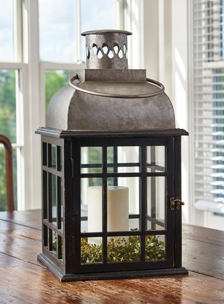 Large Primitive Tin Top Lantern Candle Holder