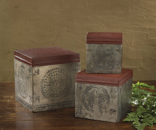 Primitive Country Punched Tin Nesting Boxes