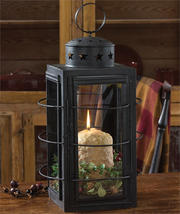 Primtive Country Three Ring Lantern Candle Holder