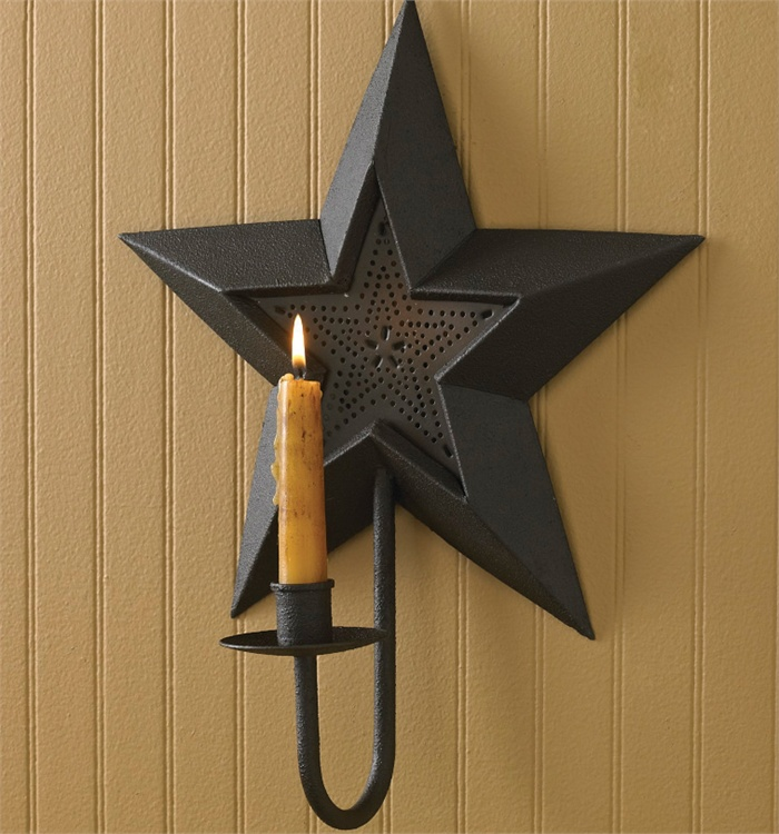 Primitive Country Black Star Sconce Wall Candle Holder