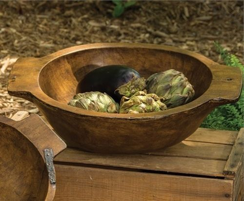 Farmhouse Rustic Large Reproduction Treenware Bowl