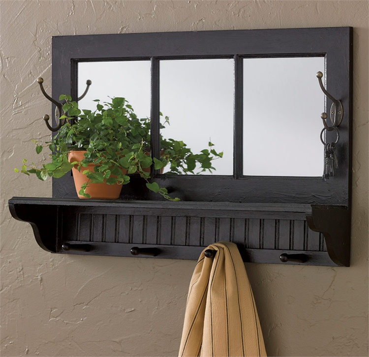 Country Distressed Black Shelf with Hooks and Mirror