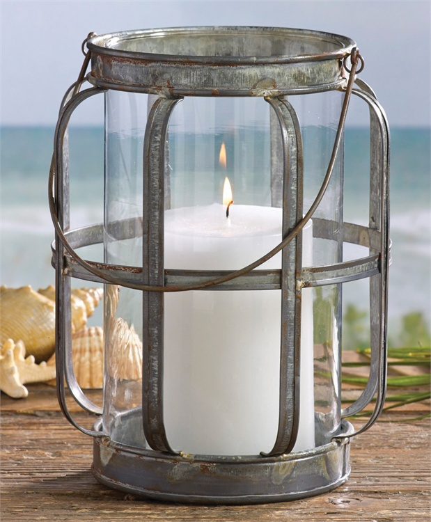 Farmhouse Industrial Cottage Galvanized Lantern Pillar Candle Holder