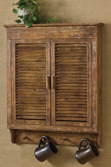 Farmhouse Country Rustic Distressed Wood Shutter Cabinet