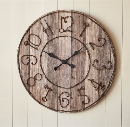#24-977 Rustic Pieced Wood Look Large Wall Clock with Key Numbers