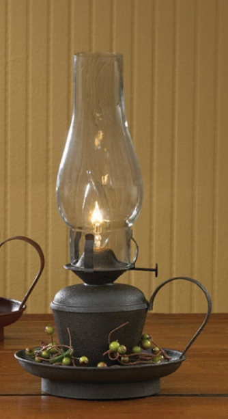 Primitive Country Rustic Black Oil Lamp Electric Lantern