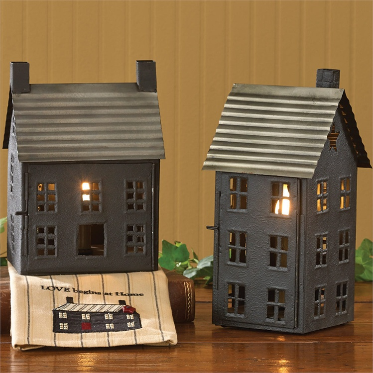 Country Rustic Lighted House Electric Lamp / Lantern