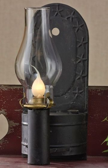 Primitive Country Electric Kerosene Wall or Table Lamp