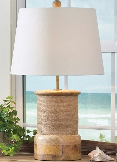 Lake / Cottage Rope Wrap Wood Lamp with Shade