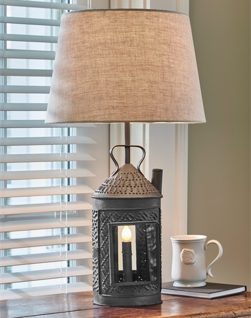 Rustic Farmhouse Punched Lantern Table Lamp with Shade