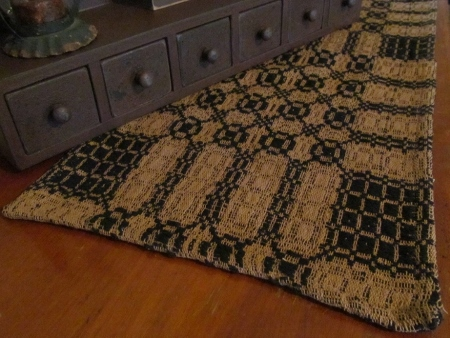 Black & Dark Tan Woven Table Runner