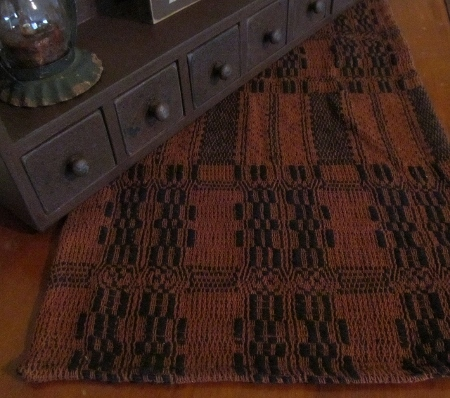 Black & Pumpkin Woven Table Runner