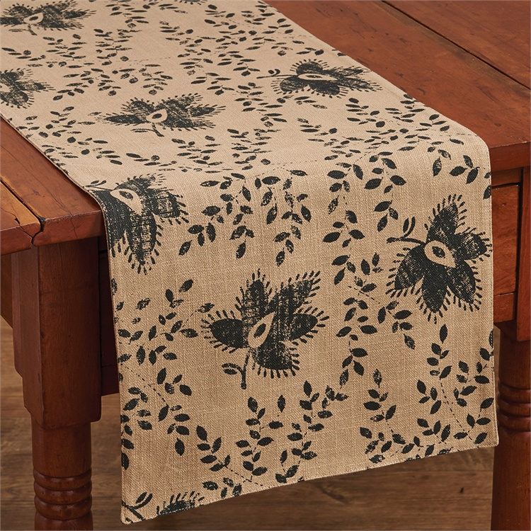 Farmhouse Style Thistle & Vine Printed Cotton Long Table Runner