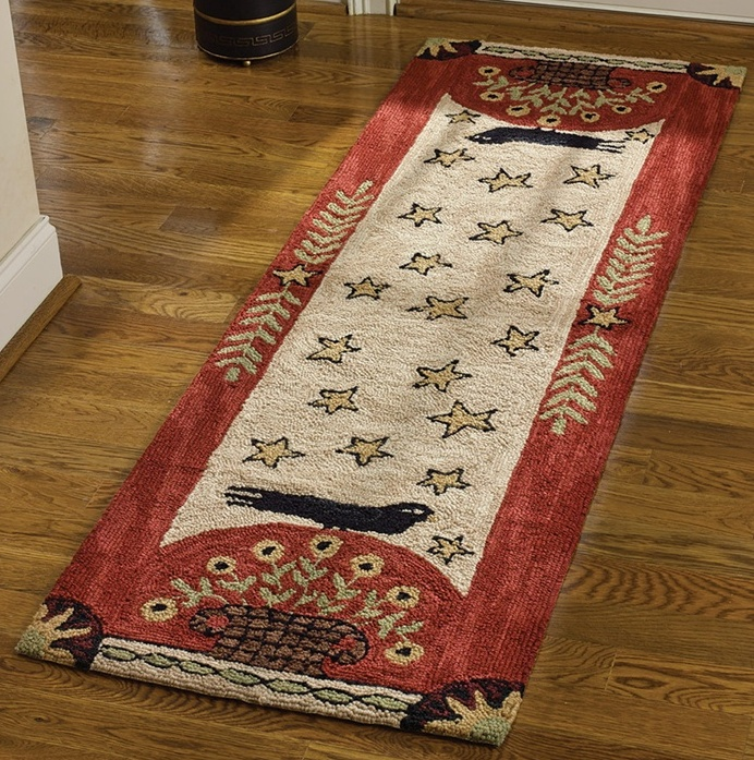 Primitive / Folk Art Crow Star and Flower Hooked Rug Runner