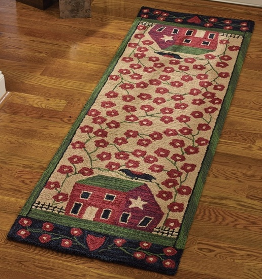 Country Folk Art Crow & Saltbox House Hooked Rug Runner