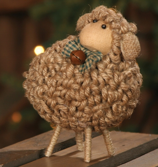 Rustic Wooly Jute Sheep - Home Decor Animal Figure