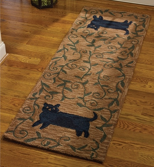 Primitive Country Kitty Cat Hooked Rug Runner