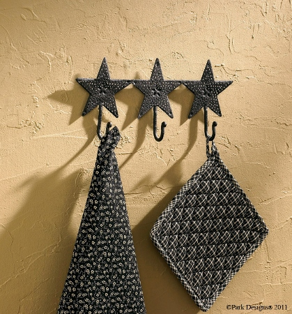 Black Star Punched Triple Wall Hook