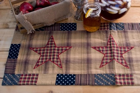 Americana Patriotic Patch Star Table Runner
