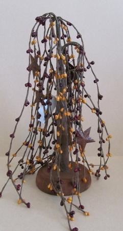 Burgandy & Mustard Pip Berry & Rusty Star Willow Tree