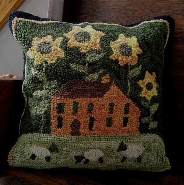 Hooked Wool Sunflower Sheep & Saltbox House Home Accent Pillow