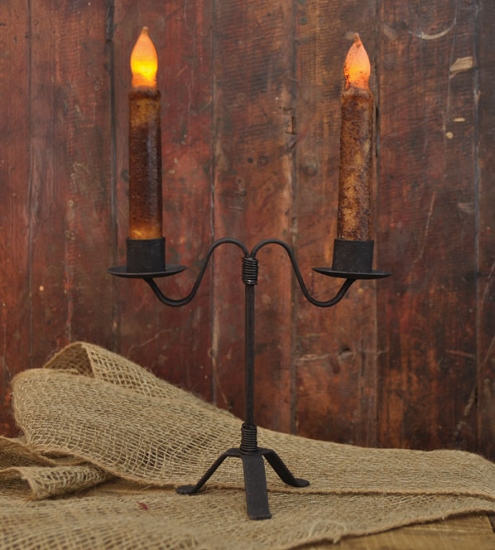 Primitive Colonial Double Tabletop Taper Candle Holder