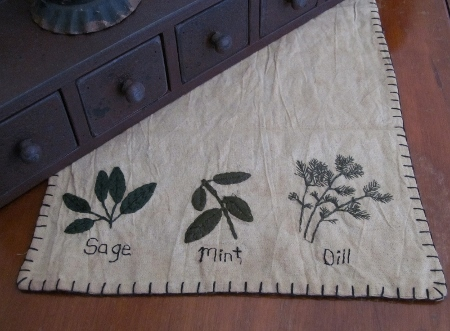 Primitive Herb Kitchen Table Runner