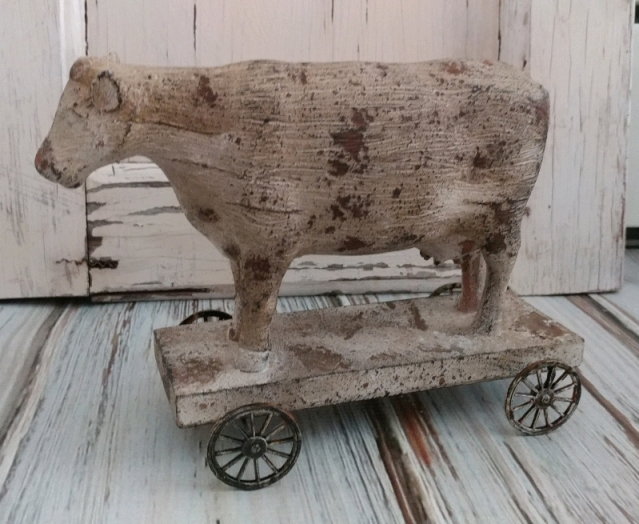 Farmhouse Country Cow on Cart Rustic Farm Home Decor Figure