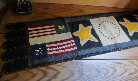 Primitive Patriotic Flag Wool Felt Runner