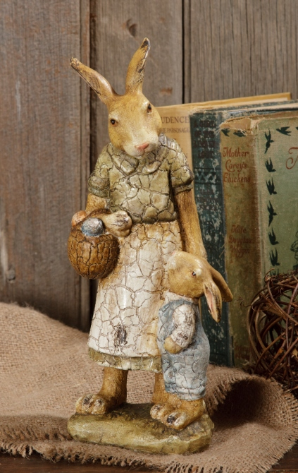 Vintage Inspired Momma and Baby Hare Figure