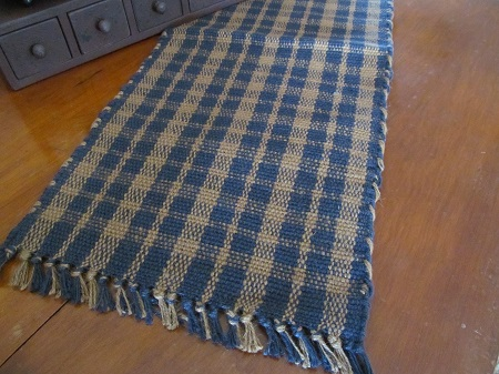 Primitive Country Jute Navy & Tan Plaid Table Runner