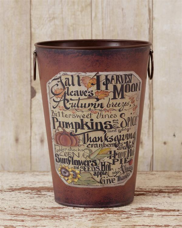 Rustic Autumn / Fall / Thanksgiving Decorative Pail / Bucket