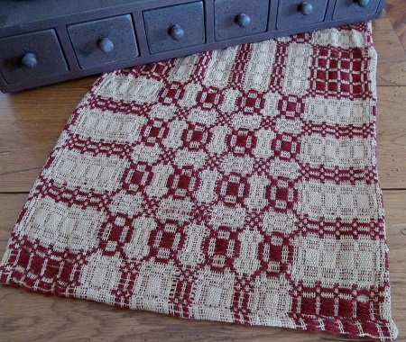 Primitive Woven Cranberry & Tan Table Runner