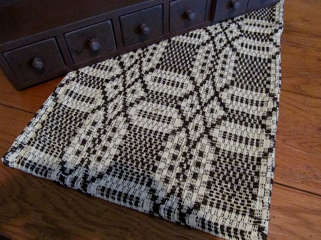 Primitive Chocolate & Cream Woven Country Table Runner