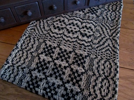 Primitive Black & Light Tan Woven Table Runner