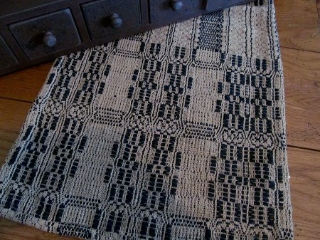 Primitive Navy & Light Tan Woven Table Runner