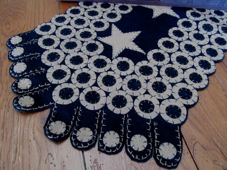 Primitive Handstitched Star and Penny Rug / Table Runner