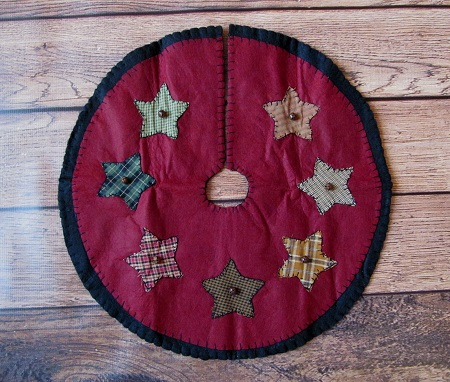 Primitive Country Star and Bell Holiday Christmas Tree Skirt