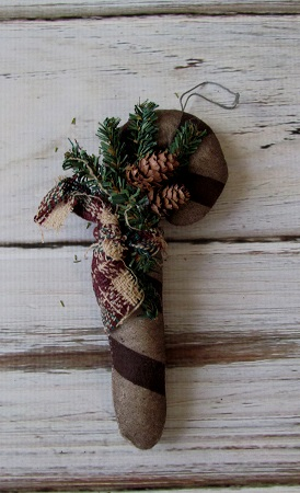 Primitive Country Candy Cane with Pinecones Christmas Ornament