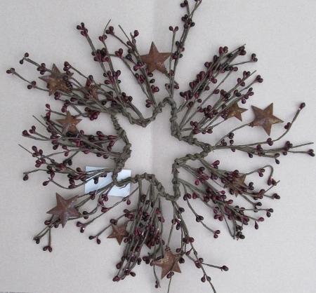 Burgandy Pip Berry & Rusty Star Wreath