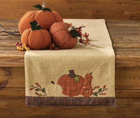 Primitive Country Autumn  Pumpkin and Gourd Cotton Burlap Table Runner