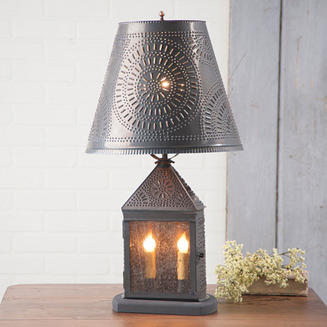 Punched Pinwheel Shade Harbor Rustic Table Lamp - Made in USA