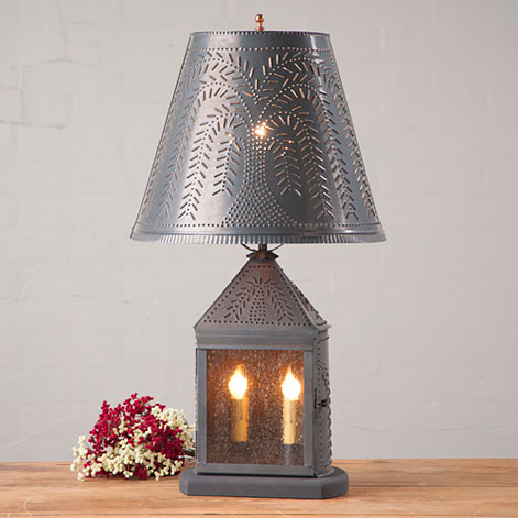 Punched Tin Harbor Table Lamp with Willow Shade