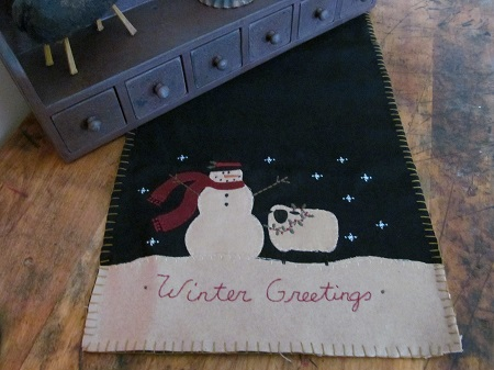 Primitive Country Snowman and Sheep Winter Table Runner