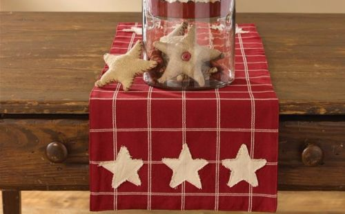 Primitive Country Cranberry and Tan Plaid Star Table Runner