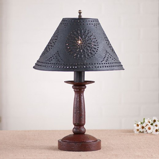 Primitive Country Rustic Punched Tin Shade Butchers Table Lamp