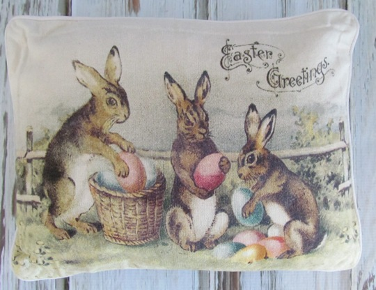 Vintage Inspired Easter Greetings Bunny & Eggs Pillow