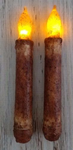 "Flameless Rustic Cinnamon 6"" Flameless Timer Taper Candles  Set of 2"